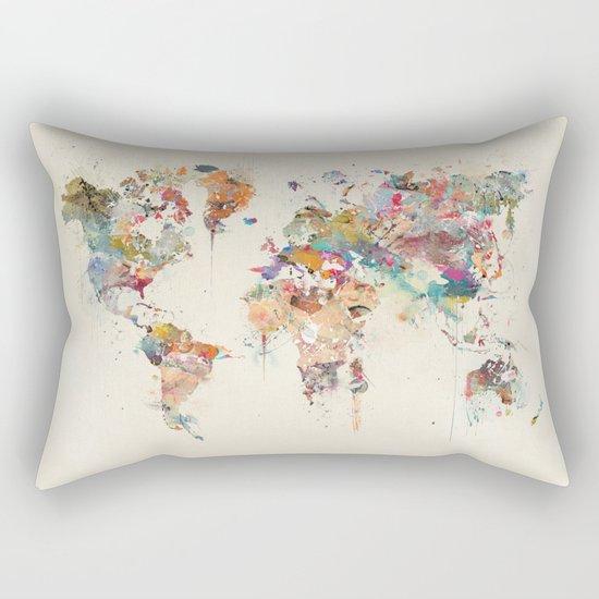 world map watercolour Rectangular Pillow