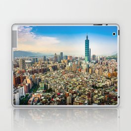 Aerial view and cityscape of Taipei, Taiwan Laptop & iPad Skin