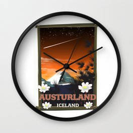 Austurland iceland travel poster Wall Clock
