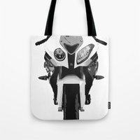 bmw Tote Bags featuring BMW Motorcycle by SABIRO DESIGN
