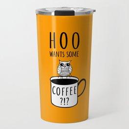 Coffee poster with owl Travel Mug