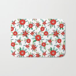 Floral christmas painted florals flower decor seasonal holidays red green and white Bath Mat