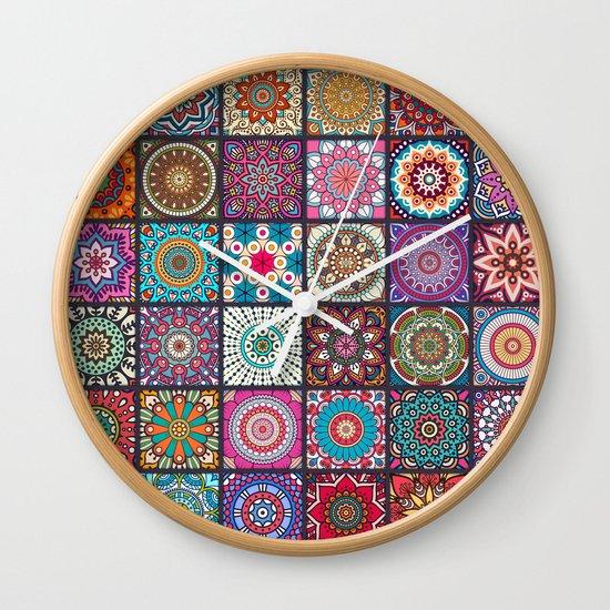 Boho Patchwork Mandela Pattern Wall Clock by Robin Curtiss ...