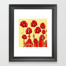 RED POPPIES ON CREAM ART NOUVEAU DESIGN Framed Art Print