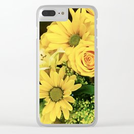 Yellow Roses, Daisies and Lilies Floral Bouquet Clear iPhone Case