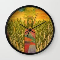 jesus Wall Clocks featuring Jesus by Eugene Frost