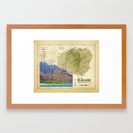 Island of Kauai [vintage inspired] Na Pali Coast road map Framed Art Print