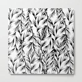Tropical black white floral leaves pattern Metal Print