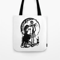 nightmare before christmas Tote Bags featuring A Nightmare Before Christmas by iankingart