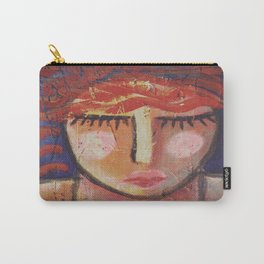 Wavy Red Hair Abstract Portrait of a Woman on OSB Board Carry-All Pouch