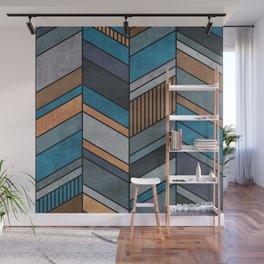 Colorful Concrete Chevron Pattern - Blue, Grey, Brown Wall Mural