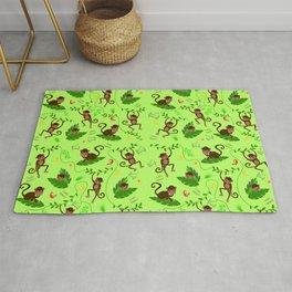 Jumping cheeky monkeys 01 Rug