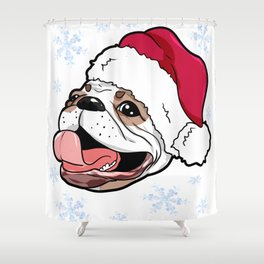 French Bulldog Christmas Present Gift Shower Curtain