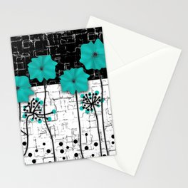 Turquoise flowers on black and white background . Stationery Cards