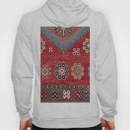 Tribal Honeycomb Palmette // 19th Century Authentic Colorful Red Aztec Flower Accent Pattern Hoody