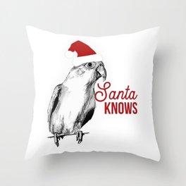 "Christmas Bird ""Santa Knows"" Throw Pillow"