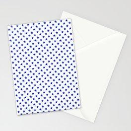 Cobalt Blue Star Pattern on White Stationery Cards