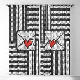 Knitted 8-bit love letter on striped black & white background Blackout Curtain