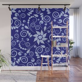 Blue floral print in Russian folk style Wall Mural