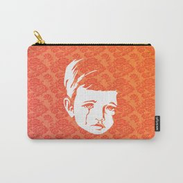 Faces - crying gypsy boy on a red and orange floral background Carry-All Pouch