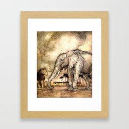 An Elephant and A Lion - Vintage Artwork Framed Art Print