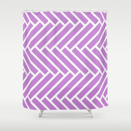 Lilac and white herringbone pattern Shower Curtain