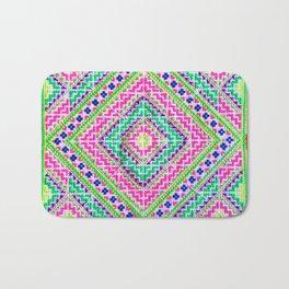 Hmong love square cross stitch Bath Mat