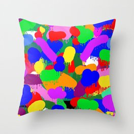 Paint Splodge Colour Abstract Throw Pillow