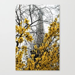 Eiffel Tower yellow flowers Canvas Print