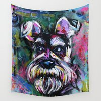 schnauzer Wall Tapestries featuring SCHOTZIE the SCHNAUZER by RaE Bright