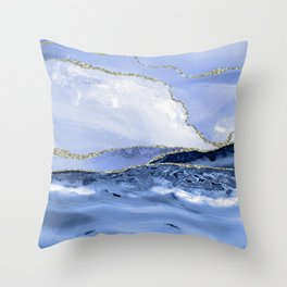 Blue Antartic Ocean Marble Waves Seascape Throw Pillow