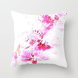 Pink- Orchid Photo Composition Throw Pillow