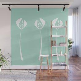 Divine Art Deco Style White Tulips Hero Mint Green Wall Mural