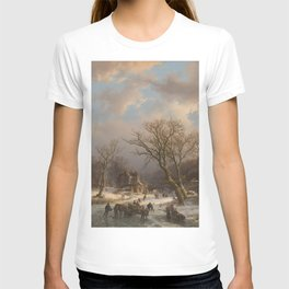 Barend Cornelis Koekkoek - Een dorp en een oud gebouw in een boomrijk landschap aan een bevroren wat T-shirt