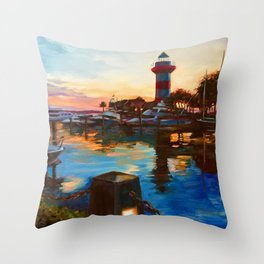 Harbour Town Lighthouse Evening, Hilton Head Island Throw Pillow