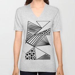 Modern abstract black white geometric stripes polka dots Unisex V-Neck