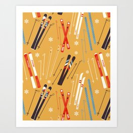 Bright Retro Skii Pattern Art Print