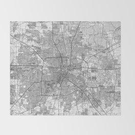 Houston Texas Map (1992) BW Throw Blanket