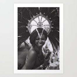 caribana street party toronto festival black & white photo girl smiling Art Print