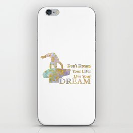Live Your Dream Gymnastics Design in Watercolor and Gold iPhone Skin