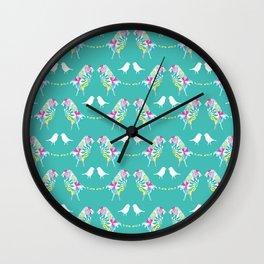 Blue Bird Print Wall Clock