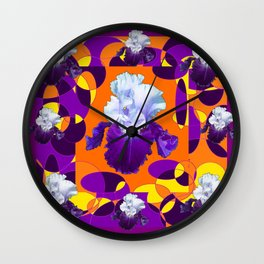 #2Colorful Modern Purple White Iris Orange Yellow Black Design Wall Clock