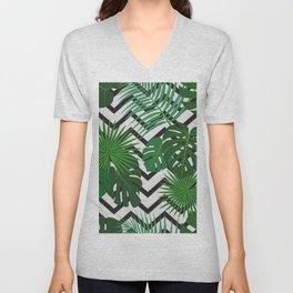 tropical leaf on zig zag pattern Unisex V-Neck