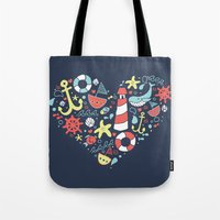 nautical Tote Bags featuring Nautical by lindsey salles