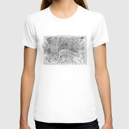 Vintage Map of London England (1860) BW T-shirt
