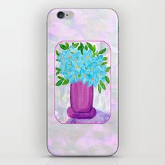 Magenta Vase with Aqua Flowers iPhone & iPod Skin