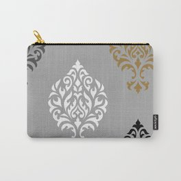 Orna Damask Art I BW Grays Gold Carry-All Pouch
