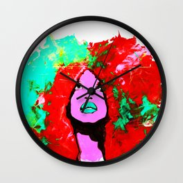 Afro Funk Girl colors red turquoise pink Wall Clock