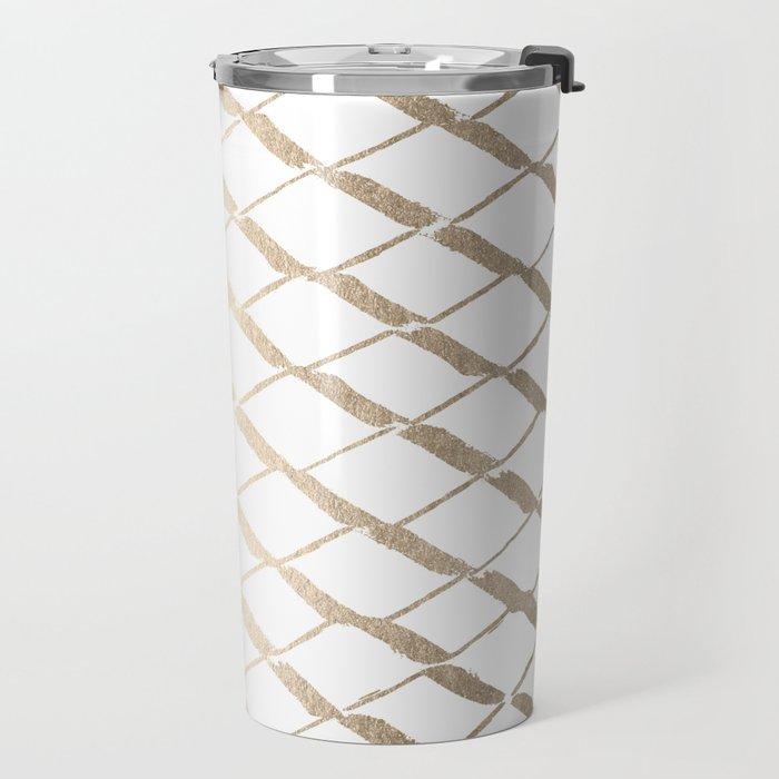 Luxe Gold Diamond Lattice Pattern on White Travel Mug