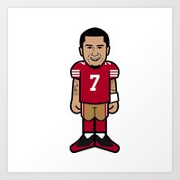 49ers Art Prints featuring There's A New Kaeptain Pro-Toon by Victorious Sports